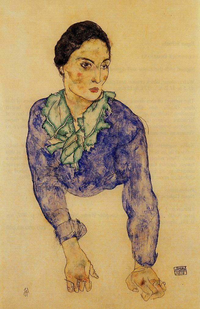 Portrait of a Woman with Blue and Green Scarf | Egon Schiele | oil painting