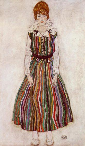 Portrait of Edith Schiele in a Striped Dress | Egon Schiele | oil painting