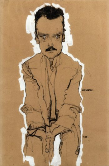 Portrait of Eduard Kosmack Frontal with Clasped Hands | Egon Schiele | oil painting