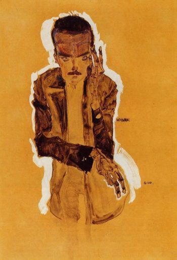 Portrait of Eduard Kosmack with Raised Left Hand | Egon Schiele | oil painting