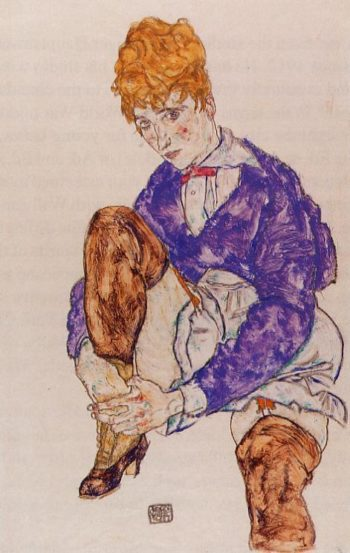 Portrait of the Artist's Wife Seated Holding Her Right Leg | Egon Schiele | oil painting