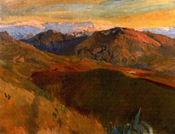 Sierra Nevada from the Cemetery Granada | Joaquin Sorolla y Bastida | oil painting