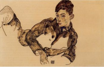 Reclining Boy Leaning on His Elbow | Egon Schiele | oil painting