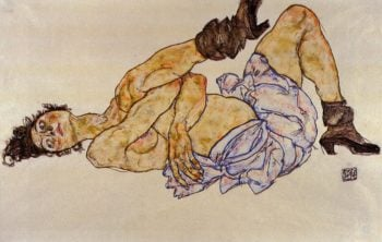 Reclining Female Nude | Egon Schiele | oil painting