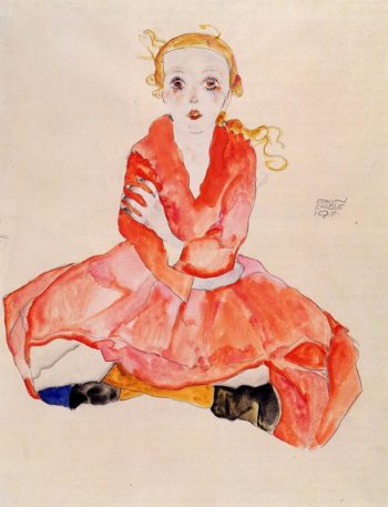 Seated Girl Facing Front | Egon Schiele | oil painting