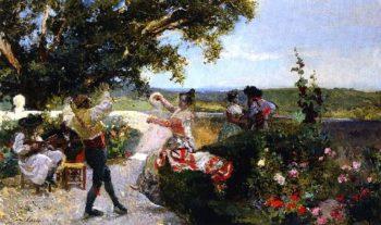 Valencianos Dance in the Garden | Joaquin Sorolla y Bastida | oil painting