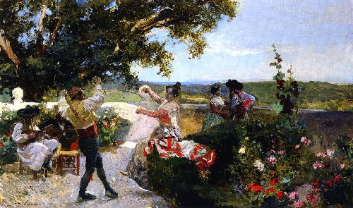 Valencianos Dance in the Garden | Joaquin Sorolla y Bastida | oil painting