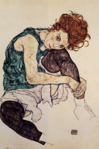 Seated Woman with Bent Knee | Egon Schiele | oil painting