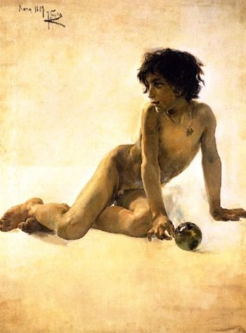 Nude with Ball | Joaquin Sorolla y Bastida | oil painting