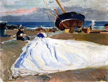 Inspecting the Sail | Joaquin Sorolla y Bastida | oil painting