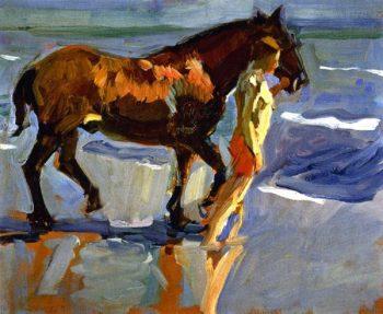 The Horse Bath | Joaquin Sorolla y Bastida | oil painting