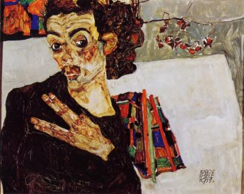 Self Portrait with Black Vase and Spread Fingers | Egon Schiele | oil painting