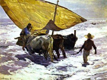 Landing the Boat Valencia | Joaquin Sorolla y Bastida | oil painting