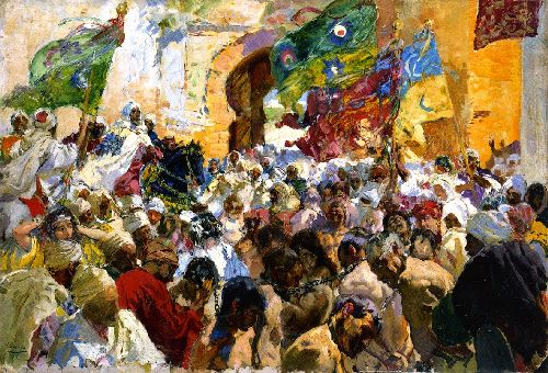 Parade of the Troops and Slaves at the Gates of the City | Joaquin Sorolla y Bastida | oil painting
