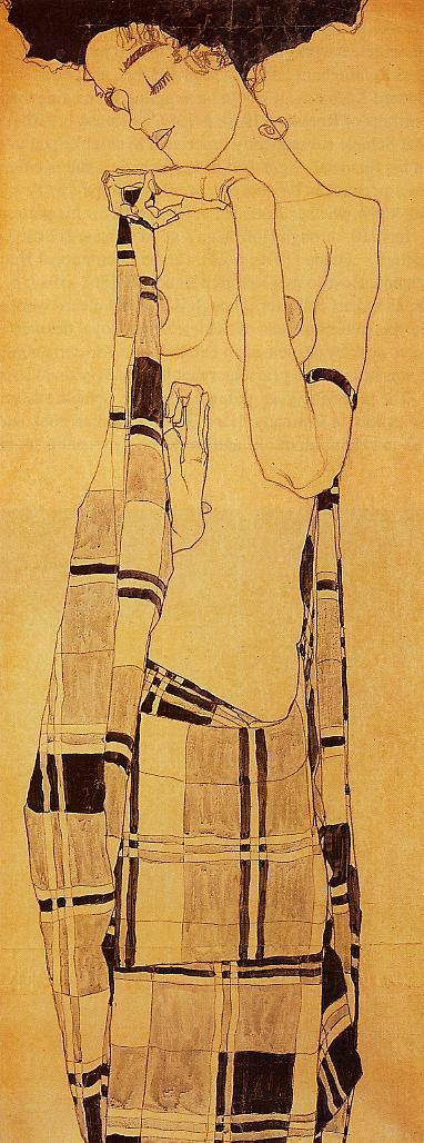 Standing Girl in a Plaid Garment | Egon Schiele | oil painting