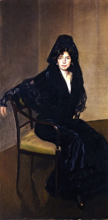 Clotilde in Black | Joaquin Sorolla y Bastida | oil painting
