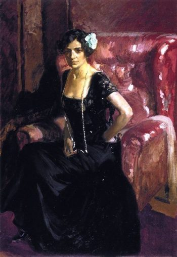 Clotilde in an Evening Gown | Joaquin Sorolla y Bastida | oil painting
