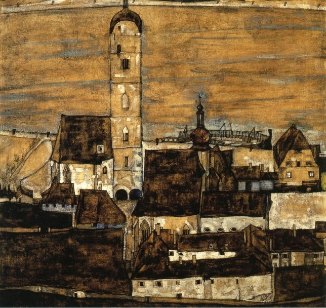 Stein on the Danube Seen from the Kreuzberg | Egon Schiele | oil painting