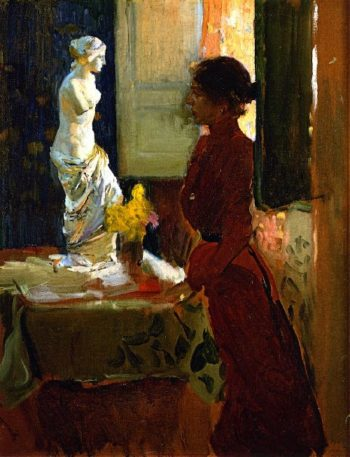 Clotilde Contemplating the Venus de Milo | Joaquin Sorolla y Bastida | oil painting