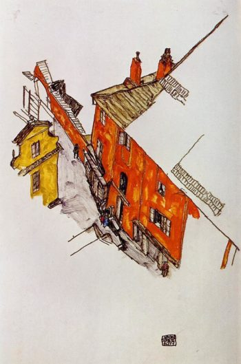 Street in Krumau | Egon Schiele | oil painting