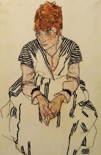 The Artist's Sister in Law in a Striped Dress Seated | Egon Schiele | oil painting