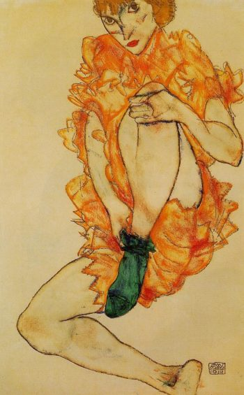 The Green Stocking | Egon Schiele | oil painting