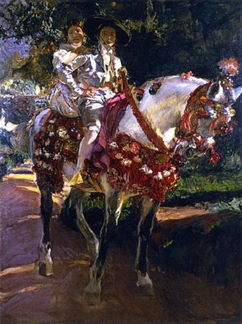 Elena and Maria the Painter's Daughters on Horseback in Valencian Period Costumes | Joaquin Sorolla y Bastida | oil painting
