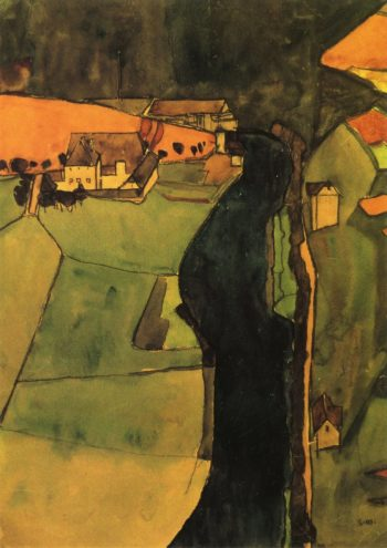 Town on the Blue River | Egon Schiele | oil painting