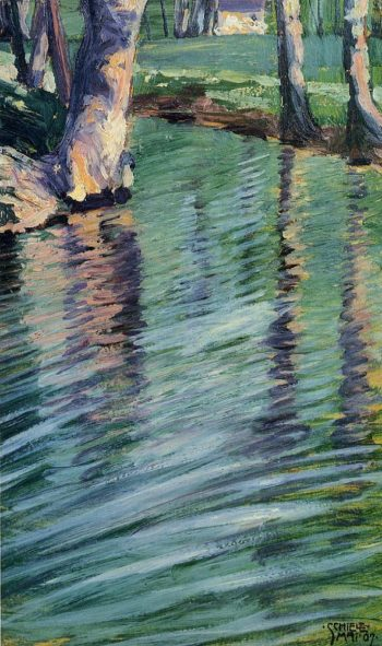 Trees Mirrored in a Pond | Egon Schiele | oil painting