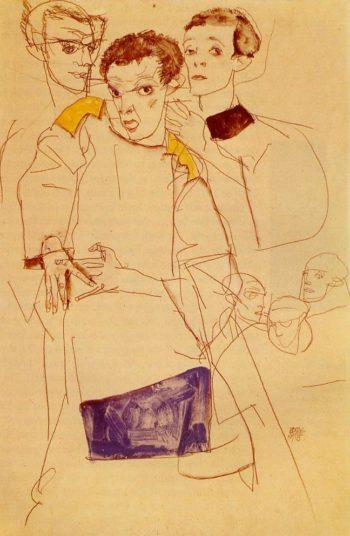 Triple Self Portrait | Egon Schiele | oil painting