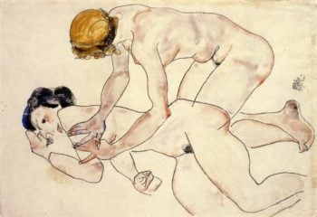 Two Female Nudes One Reclining One Kneeling | Egon Schiele | oil painting