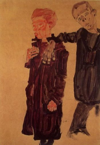Two Guttersnipes | Egon Schiele | oil painting