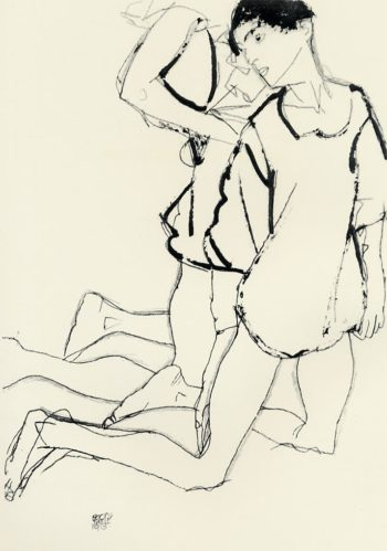 Two Kneeling Figures | Egon Schiele | oil painting