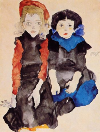 Two Little Girls | Egon Schiele | oil painting