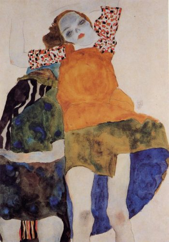 Two Seated Girls | Egon Schiele | oil painting