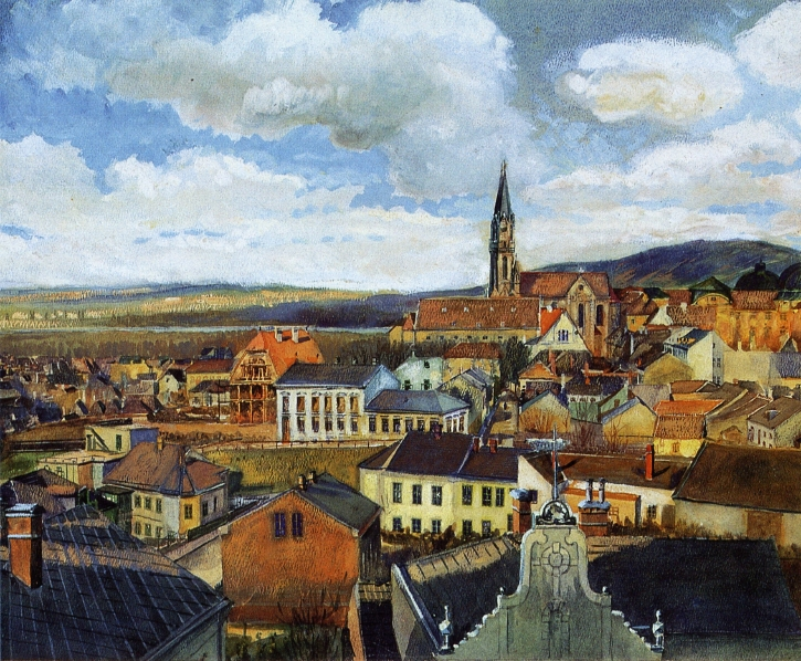 View from the Drawing Classroom Klosterneuburg 1 | Egon Schiele | oil painting