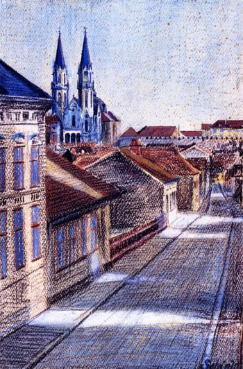 View from the Drawing Classroom Klosterneuburg | Egon Schiele | oil painting