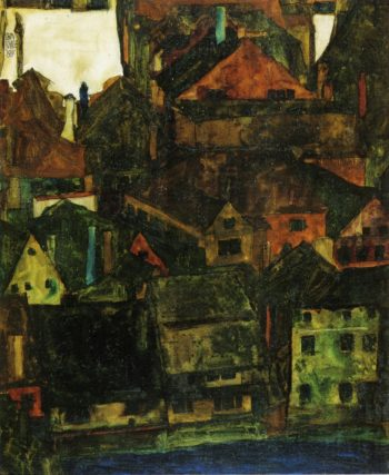View of Houses and Roofs of Krumau Seen from the Schlossberg | Egon Schiele | oil painting