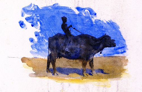 Boy on a Water Buffalo | John Singer Sargent | oil painting