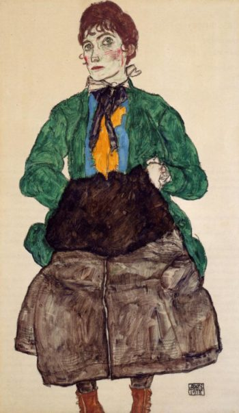 Woman in a Green Blouse and Muff | Egon Schiele | oil painting