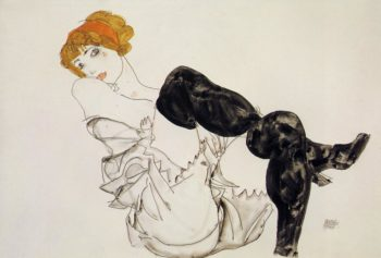 Woman in Black Stockings | Egon Schiele | oil painting