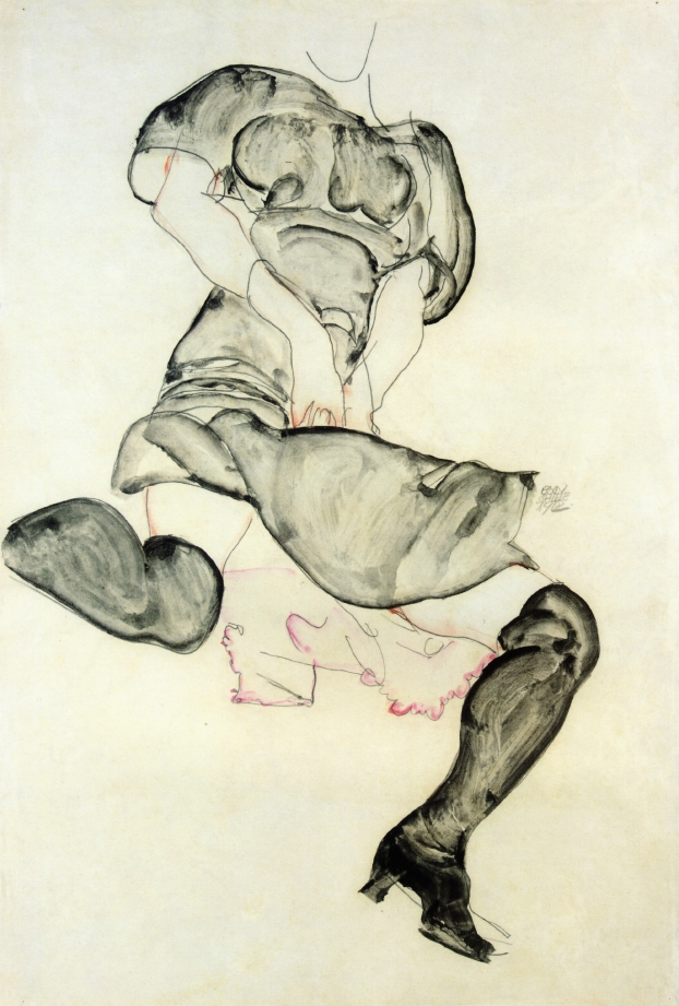 Woman with Black Stockings | Egon Schiele | oil painting