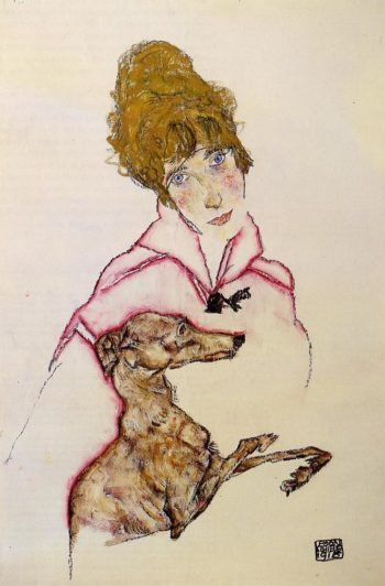 Woman with Greyhound | Egon Schiele | oil painting