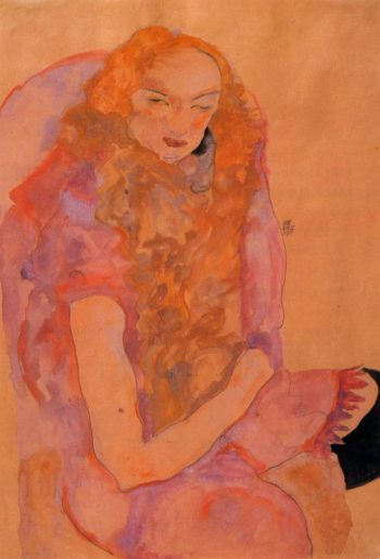Woman with Long Hair | Egon Schiele | oil painting