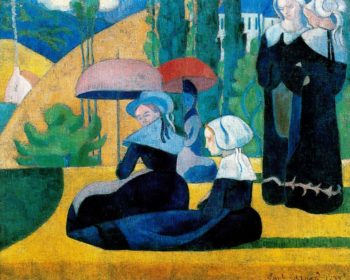 Breton women with parasols | Emile Bernard | oil painting