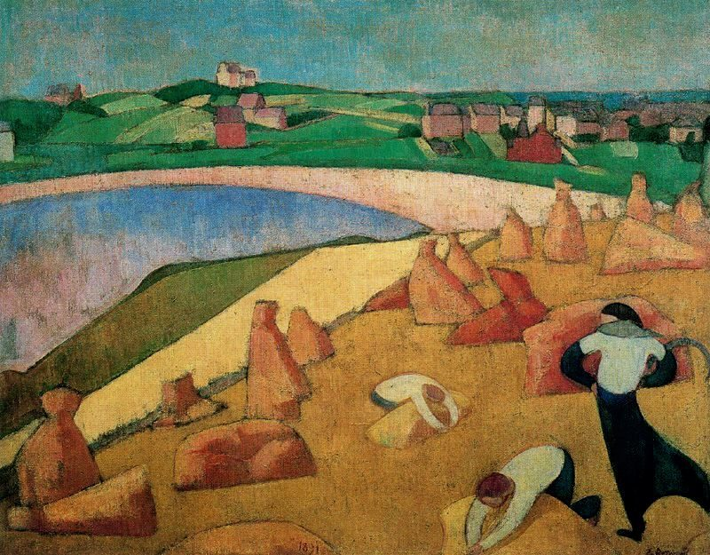 Harvest at the edge of the sea   Emile Bernard   oil painting