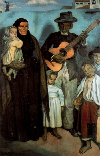 Spanish street musician and his family | Emile Bernard | oil painting