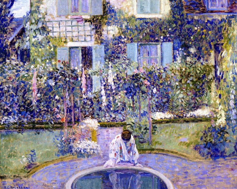 Garden Mirror   Frederick C Frieseke   oil painting