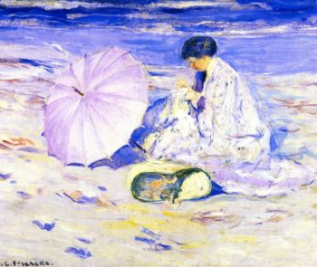 On the Beach in Corsica | Frederick C Frieseke | oil painting