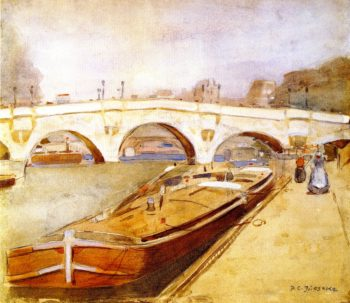 Paris Pont Neuf with Barges | Frederick C Frieseke | oil painting